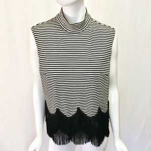 Marc Jacobs Fringe Black and White Stripes Top
